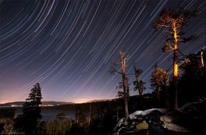 A view of stars over Lake Tahoe's Emerald Bay.