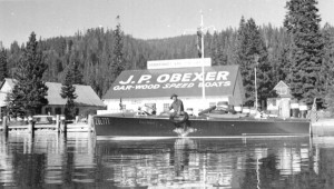 """Jake Obexer aboard the 1939 Gar Wood """"Miss Tahoe"""""""
